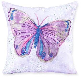 Papillon Mauve Decorative Pillow Diamond Painting Kit