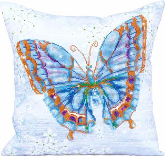 Papillon Bleu Decorative Pillow Diamond Painting Kit