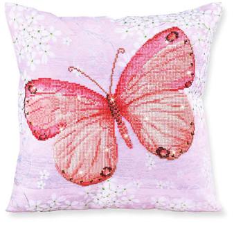 Papillon Abricot Decorative Pillow Diamond Painting Kit