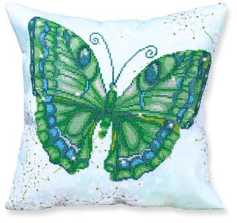 Papillon Vert Decorative Pillow Diamond Painting Kit