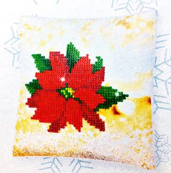 Decorative Christmas Poinsettia Mini Pillow Case