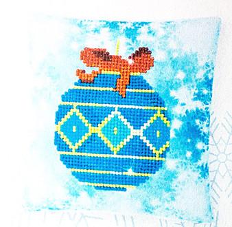 Decorative Christmas Blue Bauble Mini Pillow Case