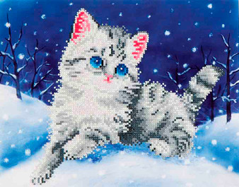 Kitten In The Snow Diamond Painting Kit