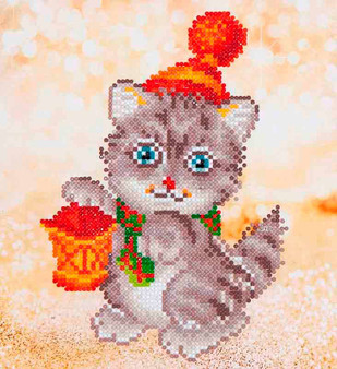 Christmas Kitten Glow Diamond Painting Kit