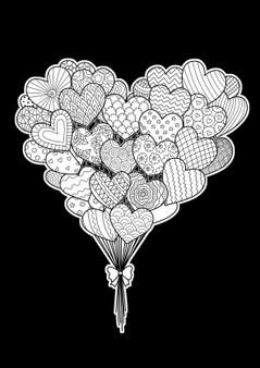 Heart Balloons Velvet Art Poster