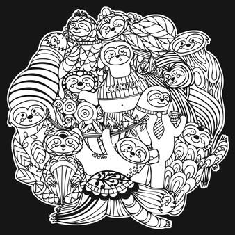 Sloths Square Velvet Art Poster