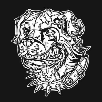 Dog Zombie Square Velvet Art Poster