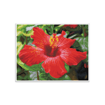 Hibiscus In Bloom Pre-Framed Diamond Dotz® Square Diamond Painting Kit