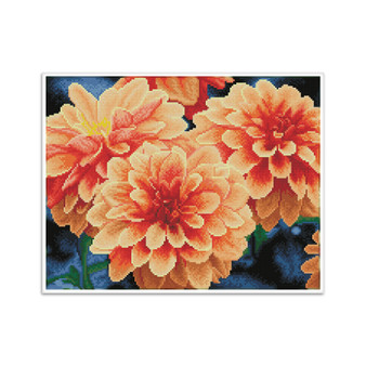 Peach Dahlias Pre-Framed Diamond Dotz® Square Diamond Painting Kit