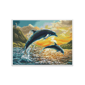 Dolphin Sunset Pre-Framed Diamond Dotz® Square Diamond Painting Kit
