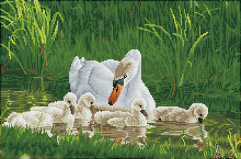 Mother Swan & Signets Diamond Dotz Diamond Painting Kit