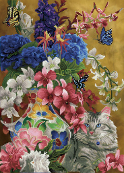 Gilded Cat & Flowers Diamond Dotz Diamond Painting Kit