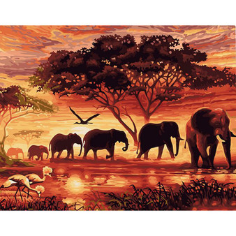 Elephant Exodus Paint By Numbers Pre-Framed Kit