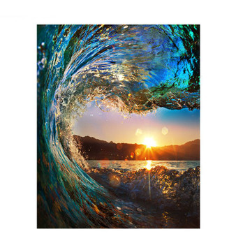 Sunset Wave Paint By Numbers Pre-Framed Canvas