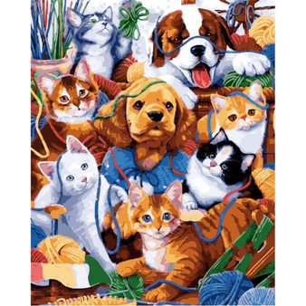 Pets Playgroup Paint By Numbers Pre-Framed Canvas