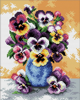 Vase Of Pansies No Count Cross Stitch