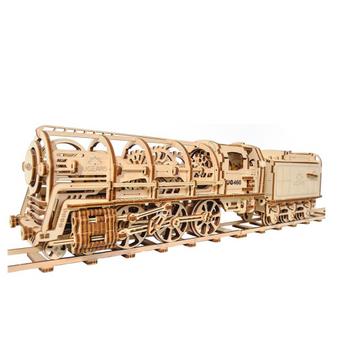 UGears 460 Steam Locomotive with Tender Mechanical Model