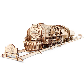 Ugears V-Express Steam Train with Tender Mechanical Model