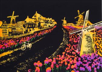Dutch Windmill Night View Scratch Art