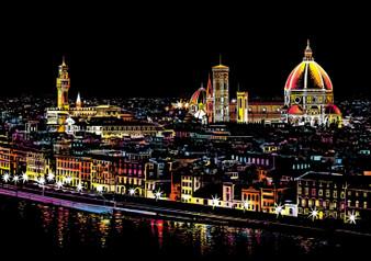 Florence Night View Scratch Art