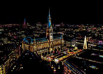 Hamburg Night View Scratch Art