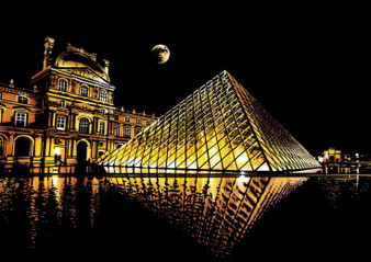 Louvre Night View Scratch Art
