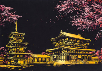 Sakura Night View Scratch Art