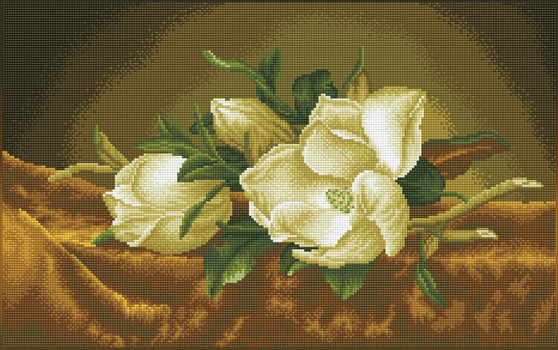 Magnolias On Gold Velvet (après Martin Johnson Heade) Diamond Painting Kit