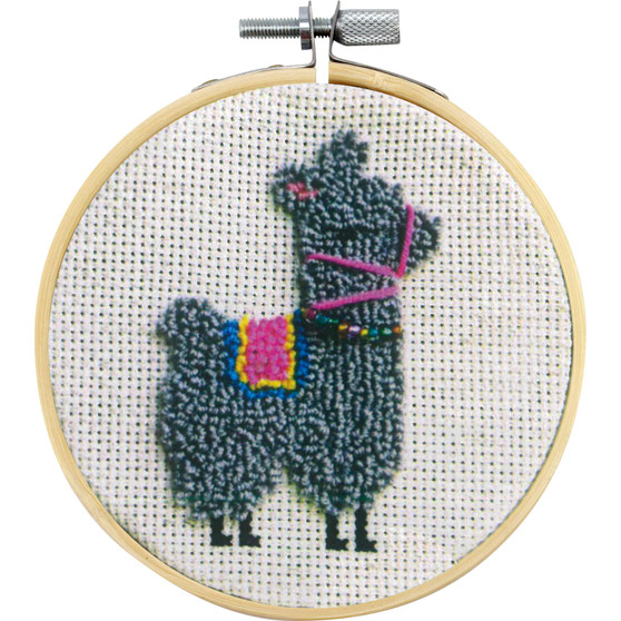 Larriet the Llama Needle Punch Kit With Hoop