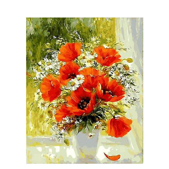 Remembrance Poppies Paint By Numbers Pre-Framed Canvas