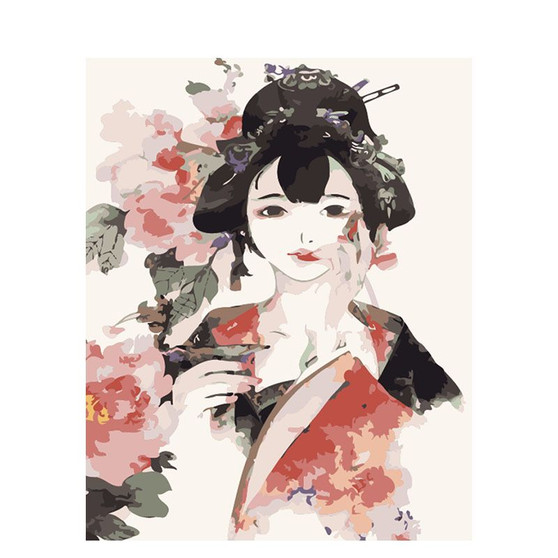 Kimono Anime Paint By Numbers Pre-Framed Canvas