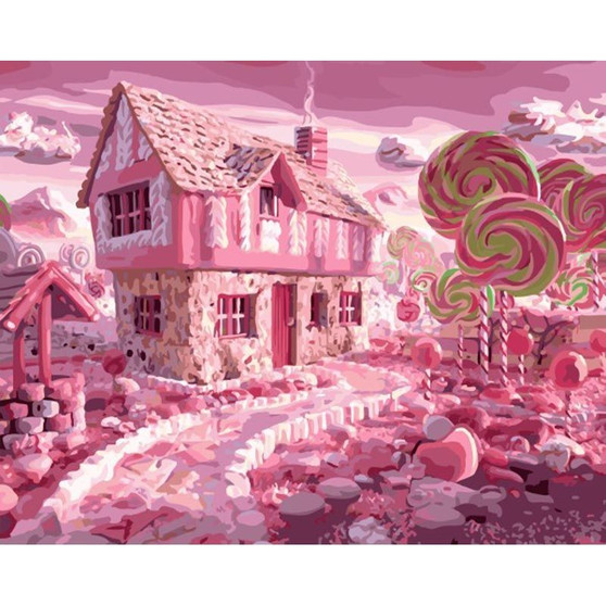 Candy Wonderland Paint By Numbers Pre-Framed Canvas