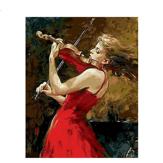 Enchanting Violinist Paint By Numbers Pre-Framed Canvas