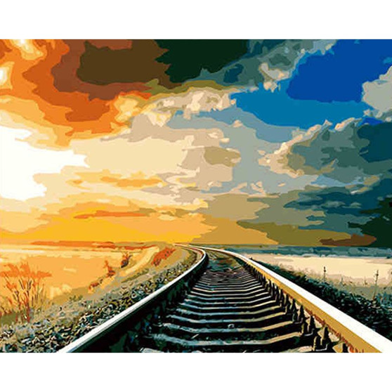 Tracks To Nowhere Paint By Numbers Pre-Framed Canvas