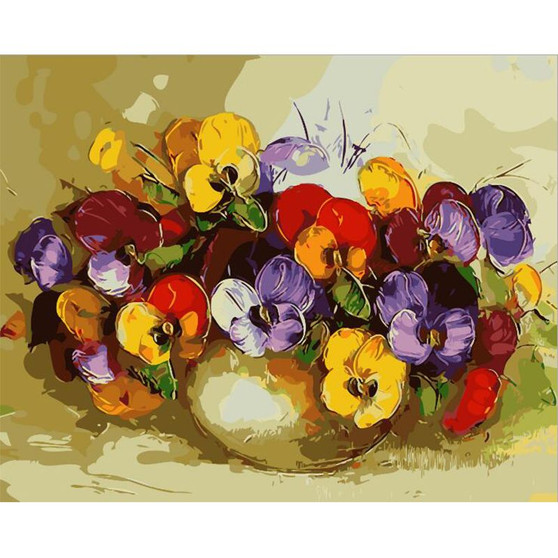Colorfest Pansies Paint By Numbers Pre-Framed Canvas
