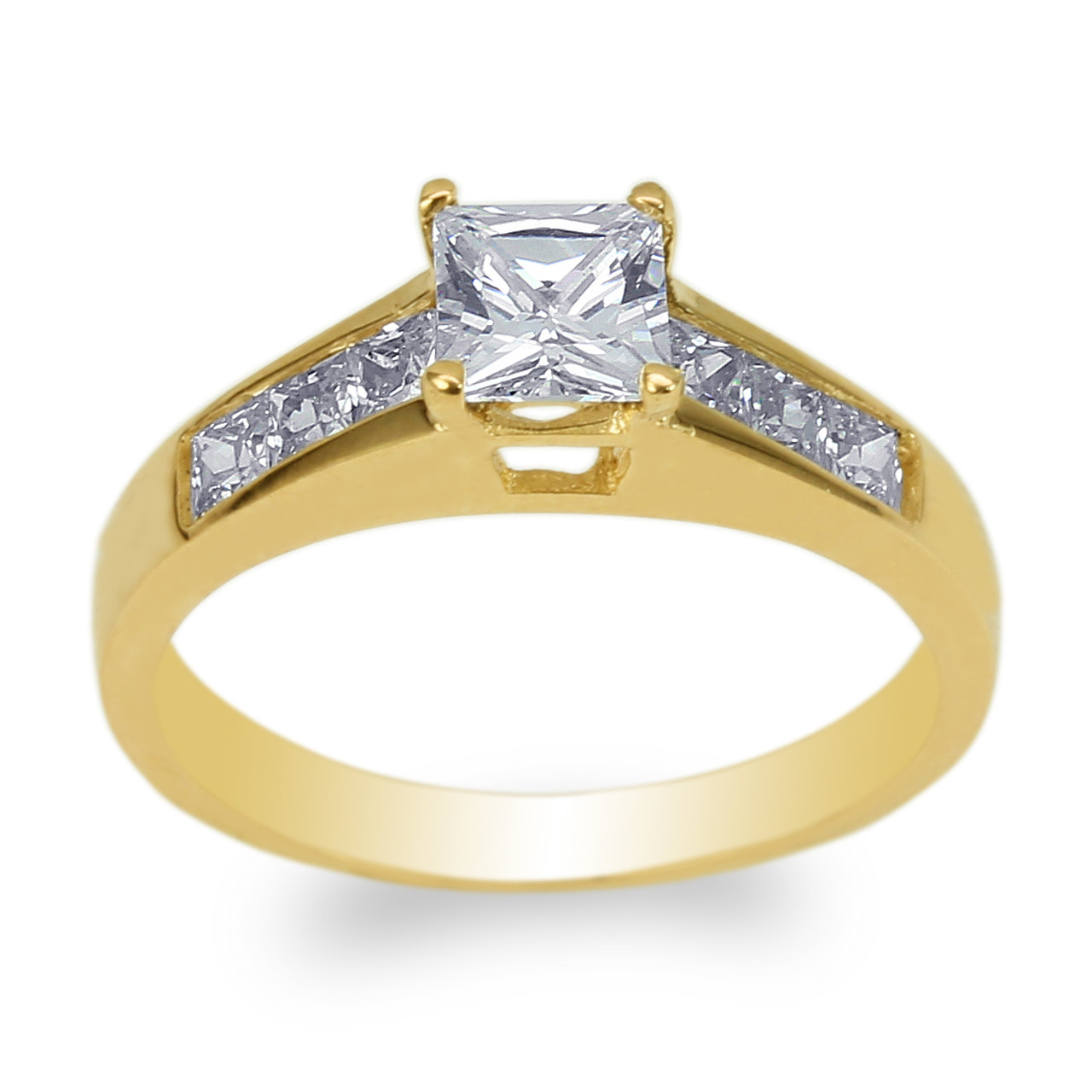 Womens Set 14K Yellow Gold Round CZ Wedding Pattern Solitaire Ring Size 4-10