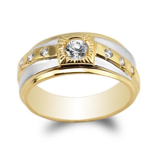 JamesJenny 10K14K Yellow Gold Round CZ Wedding Band Luxury Ring Size 7-12