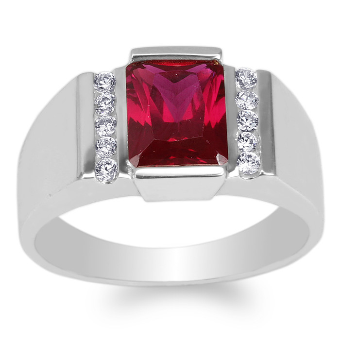 JamesJenny Mens 14K Yellow/White Gold 2 6ct Emerald Red Colored CZ Luxury  Ring Size 7-12