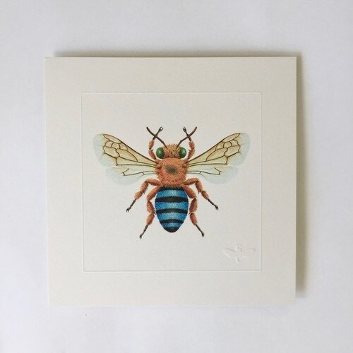 Miniature print. Blue Banded Bee