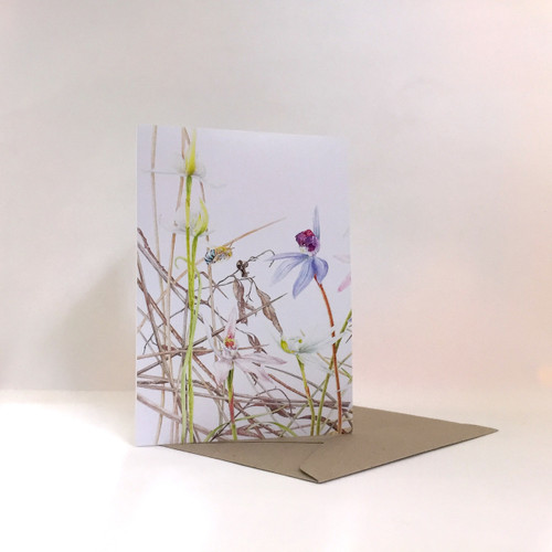 Card: Blue-banded Bee and Caledenia Orchids, Spider Orchids in Leaf Litter