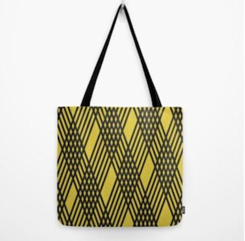 Tote large yellow/black stripe