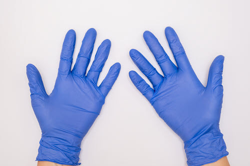 blue nitrile gloves case