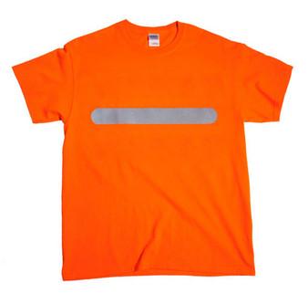 Reflective  Horizontal Bar   T- shirt -  Safety Orange