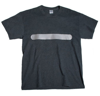 (TWO POINT ) Reflective T-shirt - horizontal bar front &  vertical  bar in  rear  Heather Gray