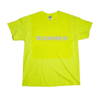 ( TWO POINT )  Reflective Runner T-shirt  -  Green with rear vertical bar