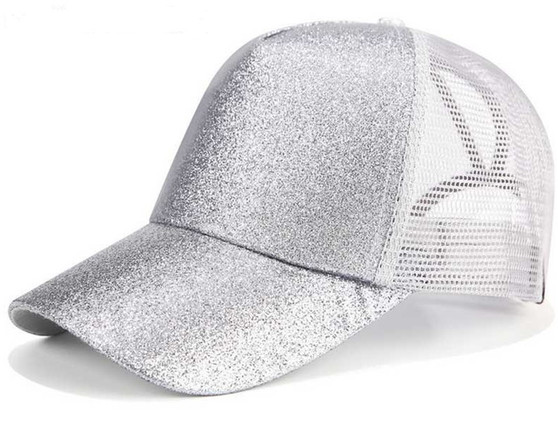 Women Glitter Ponytail Baseball Cap -  Silver
