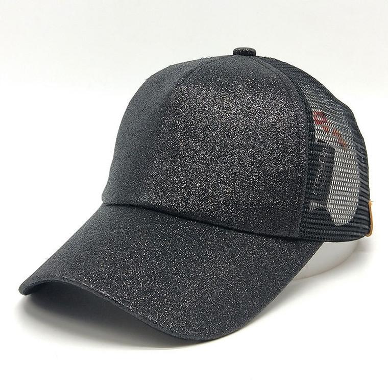 Women Glitter Ponytail Baseball Cap -  Black
