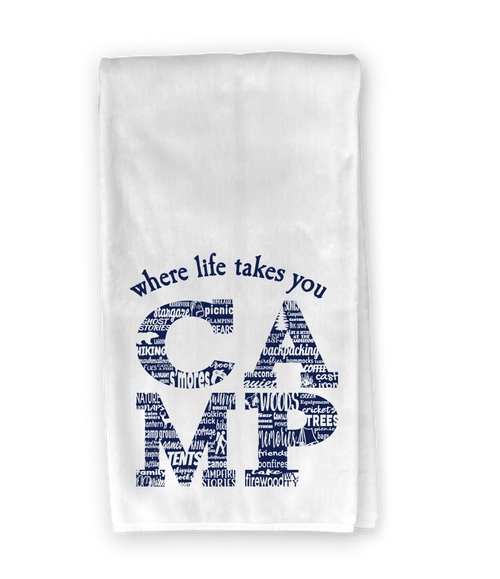 CAMP Activity Letter (Navy) Kitchen Towel - Where Life Takes You
