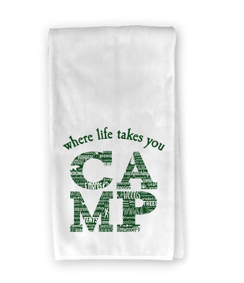 CAMP Activity Letter (Green) Kitchen Towel - Where Life Takes You