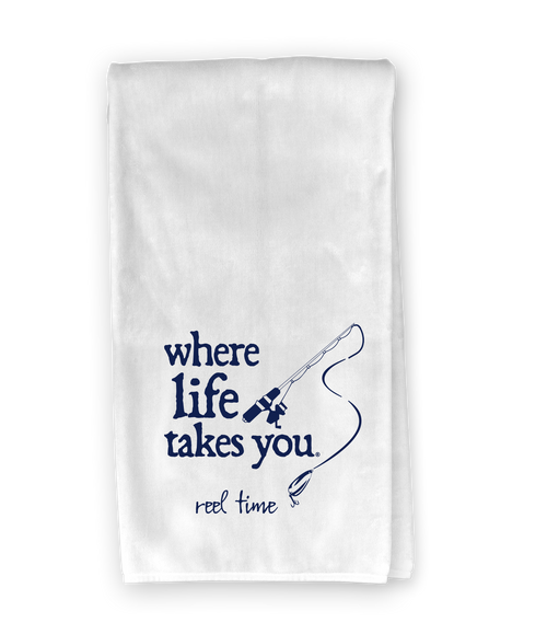 Fishing Lure (reel time) Kitchen Towel - Where Life Takes You